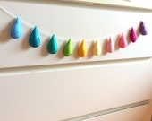 Felt garland, raindrops garland, Roomdecoration, rainbow color