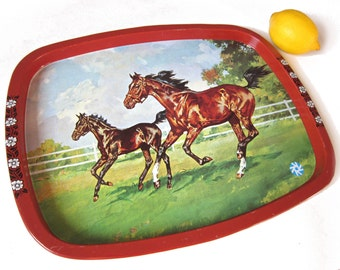 RESERVED Vintage horses tray, metal, 1970s made in Belgium