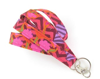 Lanyard Badge Holder, Pink Purple Plum Chevron Art Nouveau Key Lanyard Gift for Teacher, Nurse Id Badge Lanyard