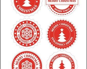 Christmas vinyl envelope seals - sets of 6