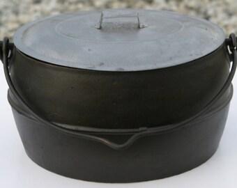 "Primitive RARE 15 1/2"" Fine Oval Cast Iron 1800s COOKING DUTCH Oven Pot w/ Original Tin Cover Professionally Clean, Organically Seasoned"