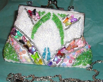 Vintage Beaded Butterfly Evening Purse