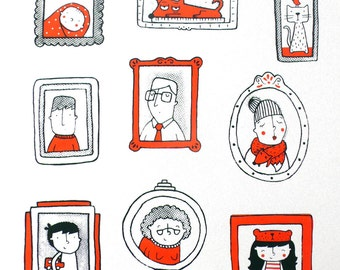 Family Portraits, Limited Edition, two colour screenprint 35x50cm