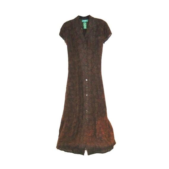 Vintage 1990s Designer RALPH LAUREN Parisian Brown Roses Silk Chiffon Dress - Bias Cut - Garden Party or Office - Size 2 Petite