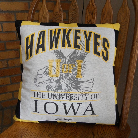 Iowa hawkeyes t shirt pillow 18 x 18 hawkeyes by for Iowa hawkeye decor