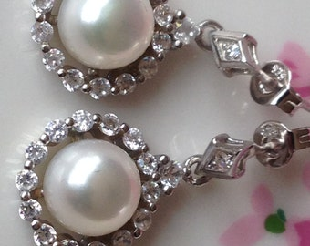 Bridal Jewelry, White Culture Pearl Earrings, Solid 925 Sterling Silver Plated by 14K White Gold, Sparkly CZ Diamond Earrings, Holiday Gift!