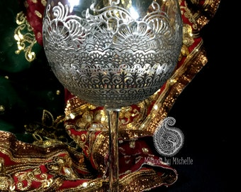 Traditional Silver Bridal Mehndi Inspired 19oz Mehndi/Henna Wine Glass!