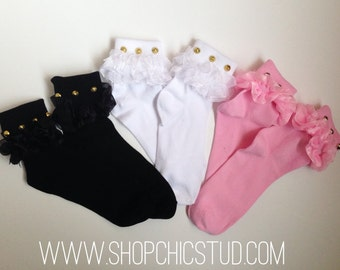 ADULT | Studded Bobby Socks - White Ruffle Sock -  Silver OR Gold Studs