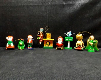 Hand Painted Wooden Christmas Tree Ornaments Set of Nine (9)