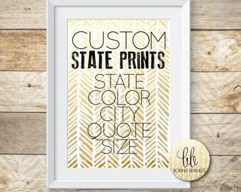 CUSTOM STATE PRINT // Create Your Own // State Pride // Custom State Art Print