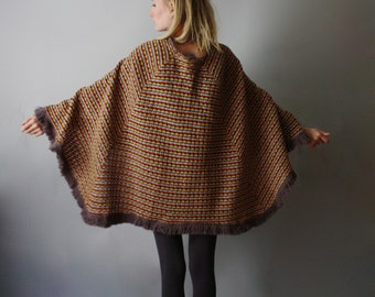 Spectacular 70s Rainbow Knit Cape / Button Down Poncho