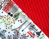 Baby Car Seat Canopy COVER or NURSING Cover: Walk in Paris with Red Minky, Personalization Available
