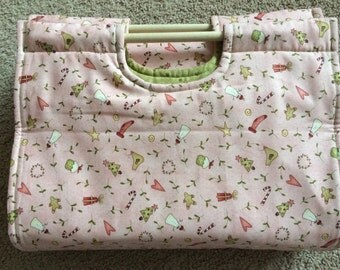 Insulated Casserole Carrier Christmas Snowmen and Angels on Pink, Personalization Available