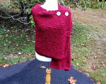 Deep Burgundy Maroon Handmade Wrap Hand Knit Shawl Cape with Buttons Medium