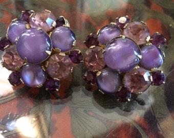 Vintage antique large round purple rhinestone sign designer Vendome clips chunky free shipping