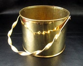 Small brass planter, vintage solid brass cylindrical bucket  planter, brass home decor, decorative brass, made in England