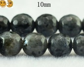 15 inch strand of Black labradorite faceted(128 faces) round beads 10mm