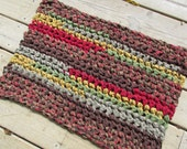 "Hunt Lodge Rug 27""x19"" Crochet Rag Rug Rectangle Cotton Washable Handmade Bathmat Kitchen Country Log Cabin Prim Brown Red Green Homespun"