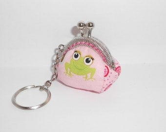 Pink Frog and Skunk  mini coin/change pouch/purse/wallet w metal frame/key chain