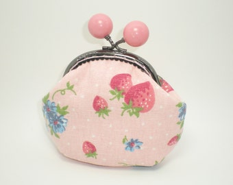 Pink Strawberry coin/change pouch/purse/wallet w metal frame