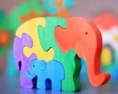 Wooden Elephants Puzzle. Handmade colorful kids puzzle toy. Wooden eco friendly handmade toys for children.
