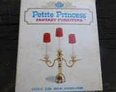 Vintage Ideal Petite Princess Royal Candelabra for Doll House -- 1960s, with Box, 3/4 Scale