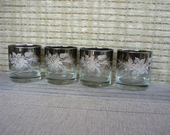 Vintage Mid Century Modern Silver Ombre Low Ball Glasses, Embossed Floral Design, Retro Barware, Set of 4