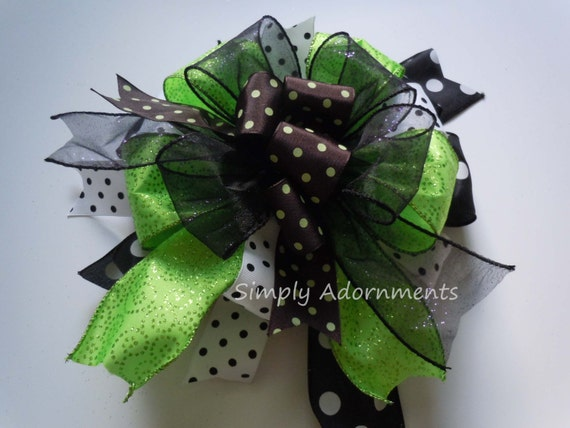 Black Green Dots Door Bow Halloween Polka Dots Wreath Bow Halloween Lantern Swag Bow Black Green Halloween Party Decoration Door Hanger Bow