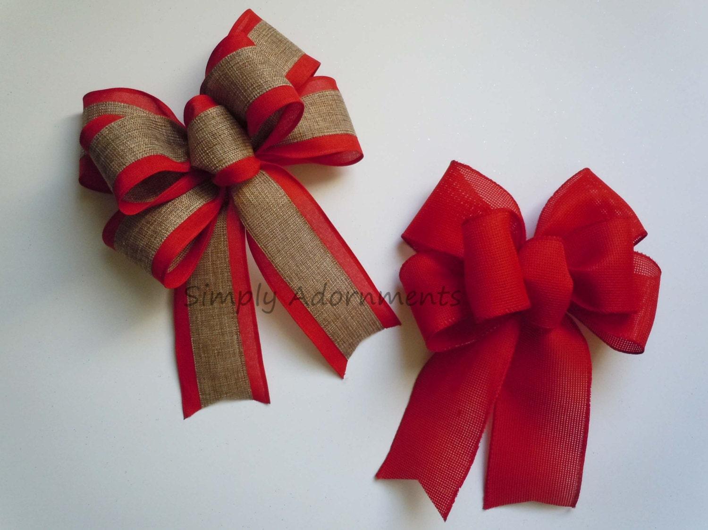 Red Burlap Christmas Bow Burlap Wreath Bow Burlap Christmas