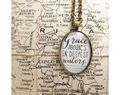 Grace Abounds In Deepest Waters - Hillsong Scripture Faith Necklace Pendant - Bronze or Silver