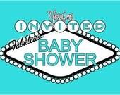 Baby Boy Shower Invitation - Las Vegas BABY BLUE - Digital Download DIY Printable