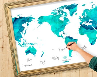 World map guest book etsy wedding guest book watercolor world map custom color add quote date wedding gumiabroncs Choice Image