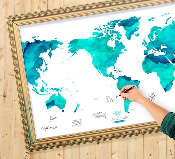 Wedding guest book watercolor world map custom color add like this item gumiabroncs Image collections