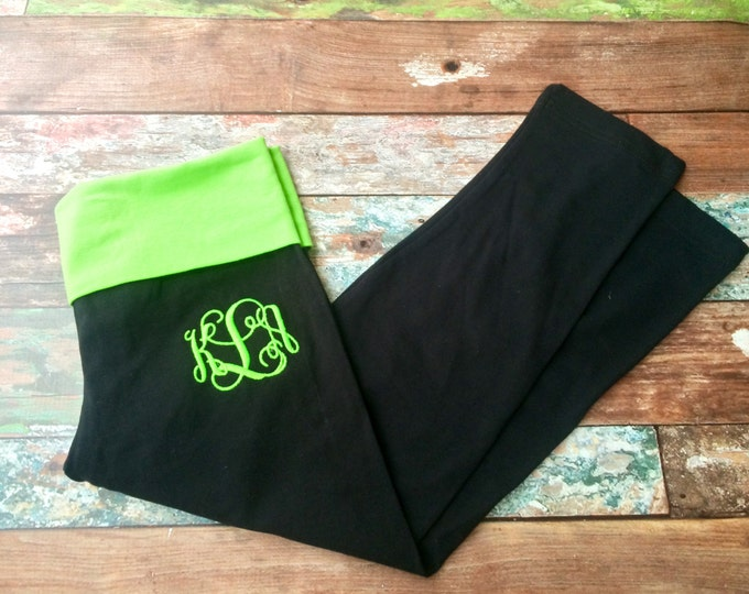 Monogrammed Yoga Pants, Yoga Capris, Monogrammed gifts for Bridesmaids, Women, Girls, Teens