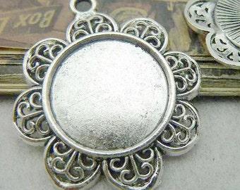 10PCS antique silver 20mm pendant trays round sunflower bezel cabochon mountings- XC6205