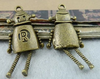 5PCS antique bronze 23x32mm robot charm pendant- XC6476