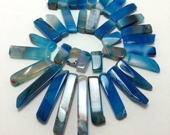 bright cobalt agate sticks - top drilled - five pieces