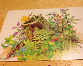Blank Note Card - Tree Stump with Flowers