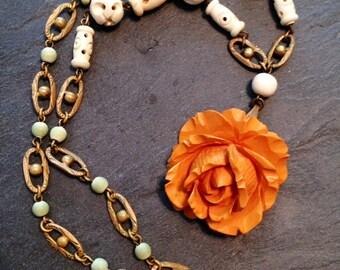 Bakelite Rose Woodland Bridal Necklace Pendant Vintage 1930 1940 Art Deco Ivory Carved Bone