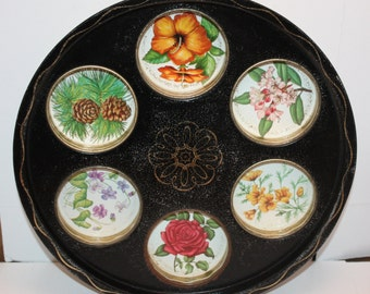 Vintage Tin 6 Drink Serving Tray, Great For Entertaining, Would add to any Room Or Home Bar Colorful Flowers, Pine Tree, Roses, Dogwood