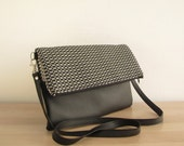 Monochrome Crossbody bag, Clutch purse, Geometry bag, Tribal print, Black and White
