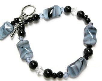 Blue Glass Bracelet unique handmade jewelry gift for her Birthday Christmas gift beaded bracelet with Swarovski crystals black bead bracelet