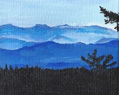 "3x3"" Acrylic Painting Blue Ridge Mountains w/Easel"