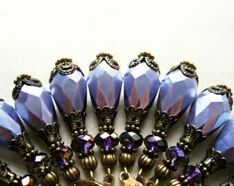 Lavender Teardrop Earrings, Amethyst Jewelry, Light Purple Earrings, Bronze Earrings with Tanzanite Crystals, Pretty Bridesmaid Earrings