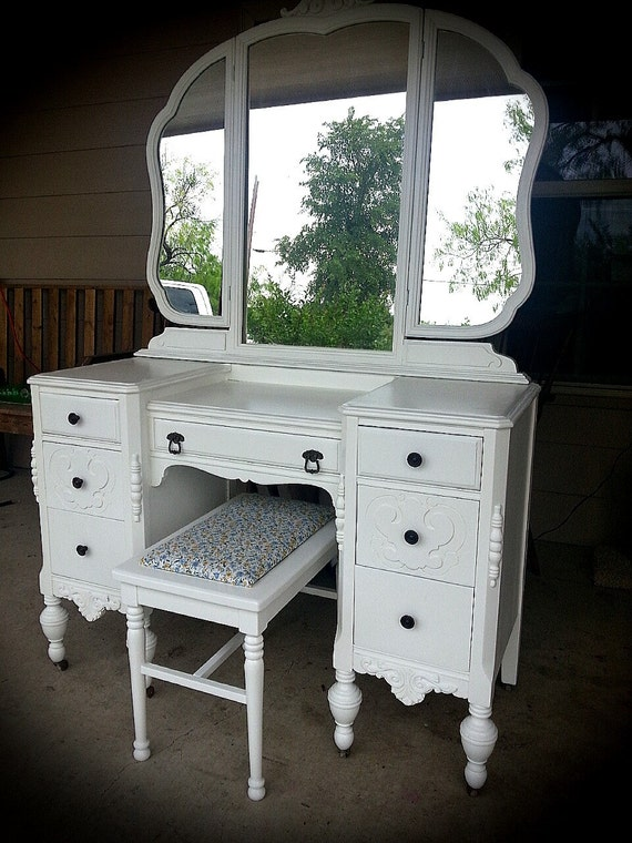 Mirrored Vanity Table And Stool: SOLD Vintage Vanity Dressing Table Painted With Mirror And