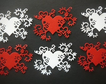 Valentine's Day Heart Flourish Die Cut Embellishments for Scrapbooking, Card Making & Table Decorations