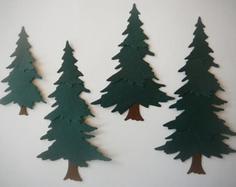 4pc. Pine Tree Die Cut Embellishment Set for Scrapbooking & Card Making