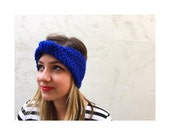 KNIT TURBAN HEADBAND - Royal Blue hand knitted turban headband , knitted earwarmer in royal blue