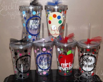 Personalized Teacher Gift Tumbler Cup with Apple, Pencil, Art Palette,Drama Comedy/Tragedy Mask, Piano, Ballet or Scalloped Circle with Name
