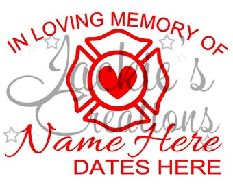 In Loving Memory of Decal with Firefighter Maltese